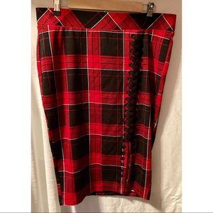 Size 0X Torrid Plaid Pencil Skirt